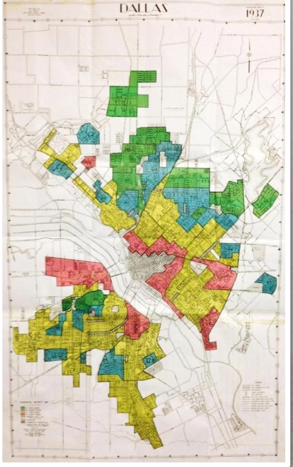 Courtesy Kirwan Institute This 1937 Home Owners' Loan Corp. map of Dallas (laid over a current map for reference) shows who could get a loan, and who couldn't.