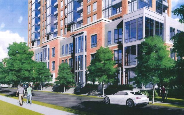 Nine Street-Level Walk-up Townhomes on Welborn Mask Garage from View
