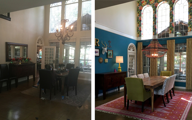 Sara Rapier's dining room before and after