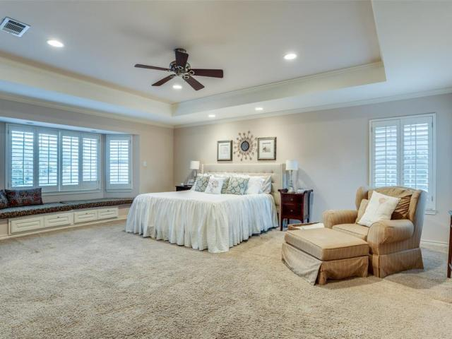 The spacious master bedroom on Hockaday Drive