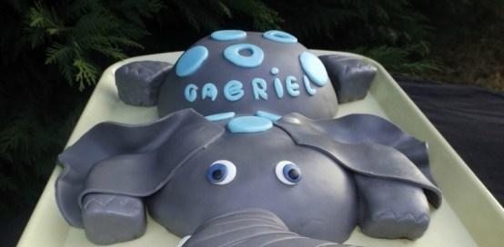 Gâteau éléphant en pâte à sucre pour les 1 ans de Gabriel4 (2)