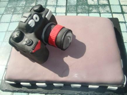 Gâteau appareil photo en pâte à sucre