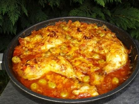 Poulet aux tomates gratiné à la poêle2