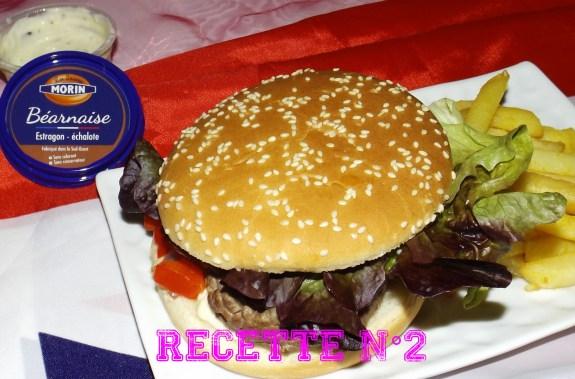 Recette 2 -- Hamburger au boeuf mozzarella et sauce béarnaise