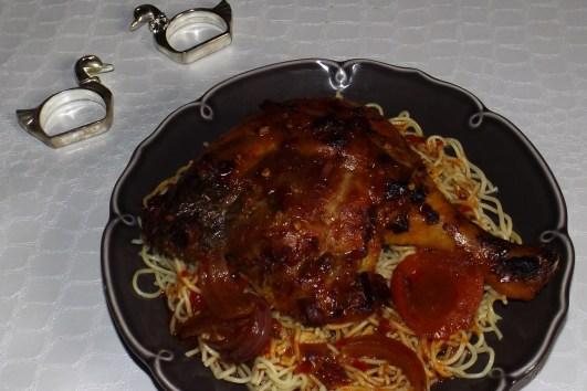 Cuisses de canard rôties à la sauce Chili
