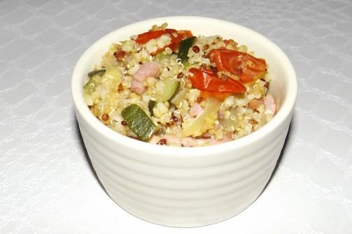 Quinoa et boulgour aux légumes et aux lardons