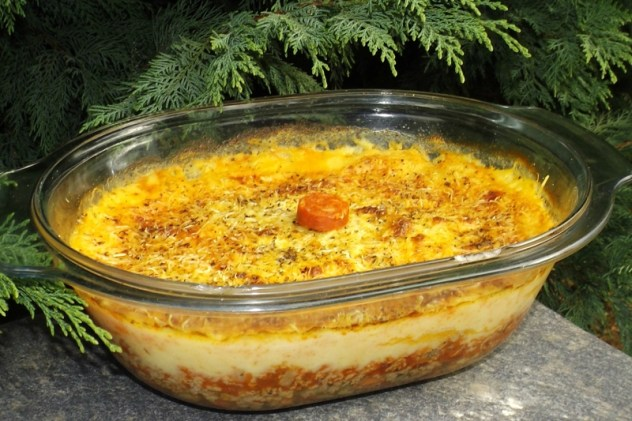 Parmentier au boeuf, aux tomates et au chorizo