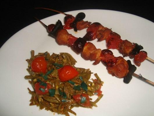 Poêlée de haricots verts et de tomates cerise aux épices CAJUN