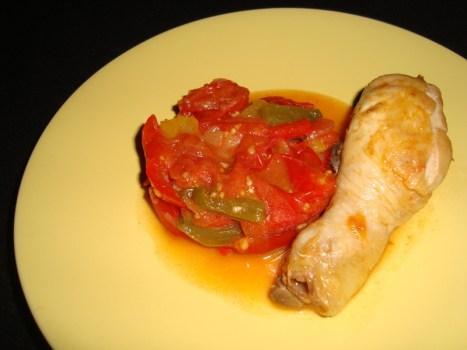 Wok de poulet aux tomates et aux poivrons2