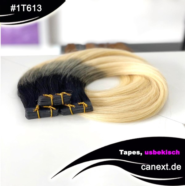 #1T613 Tape Extensions Ombre Schwarz Hellblond