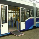 wheelchair ramp extended from bus