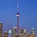 CN Tower during the evening from across the lake