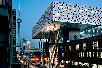 outlooking OCAD University from the corner of McCaul and Dundas