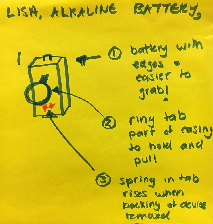 The newly redesigned batteries have edges, a rectangular form that makes it easier for the individual to grab. As well there is a tab on the front for one to hold and pull it out with a spring in tab rising when the backing of the device is removed to make the process easier.