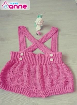 Örgü bebek askılı şort yapımı (1)