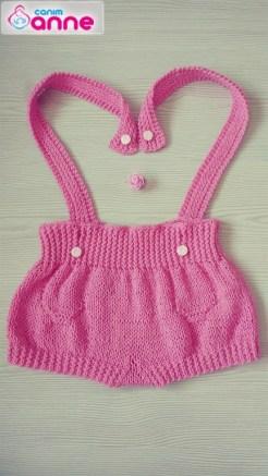 Örgü bebek askılı şort yapımı (10)