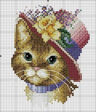 Kanaviçe (Etamin) Kedi Şablonları (26)