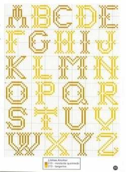 Kanaviçe, etamin alfabe, harf ve rakam şablonu (32)