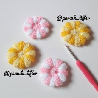 İki renkli puf çiçeği modeli