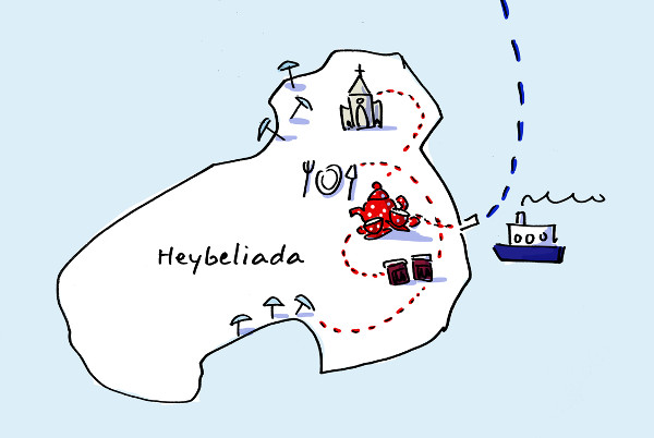 Illustration of a day trip in Heybeliada with 5 stops