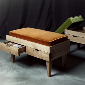 Hane 78 wooden bench with orange cushion