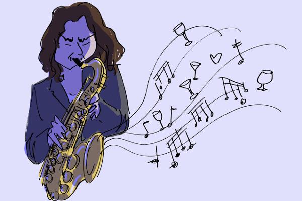Illustration of Ilhan Ersahin playing saxophone at Nublu istanbul