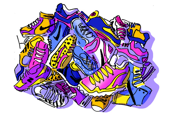 Running shoes of different brands