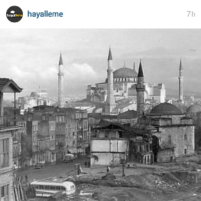 Old photo of Firuz Ağa Camii and Ayasofya from 1950