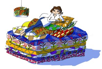Girl laying on bed at 3rd Culture store in çukurcuma