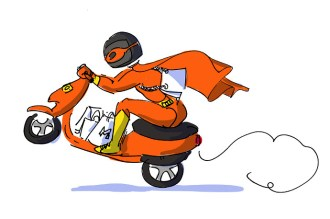 KapGel delivery boy represented as super hero on a scooter