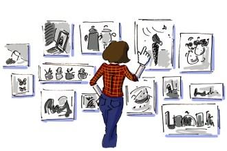 Girl looking at photo prints from DiArtPrints
