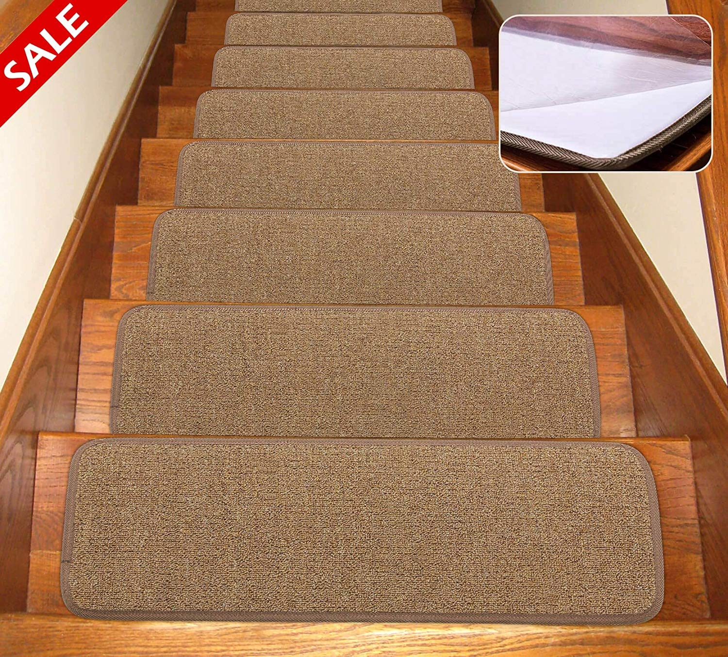 Self Adhesive Non Slip Carpet Stair Treads Canine Arthritis | Berber Carpet For Stairs | Decorative | Waterfall Stair | Sophisticated | Durable | Master Bedroom