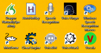 Collection of software icons the author uses including, Dragon Naturally Speaking, Auto Hot Key, Speech Recognition, Voice Finger, Windows Speech Recognition Macros, MouSense, Cheat Engine, Voice Bot, Voice Attack, and Vocola.