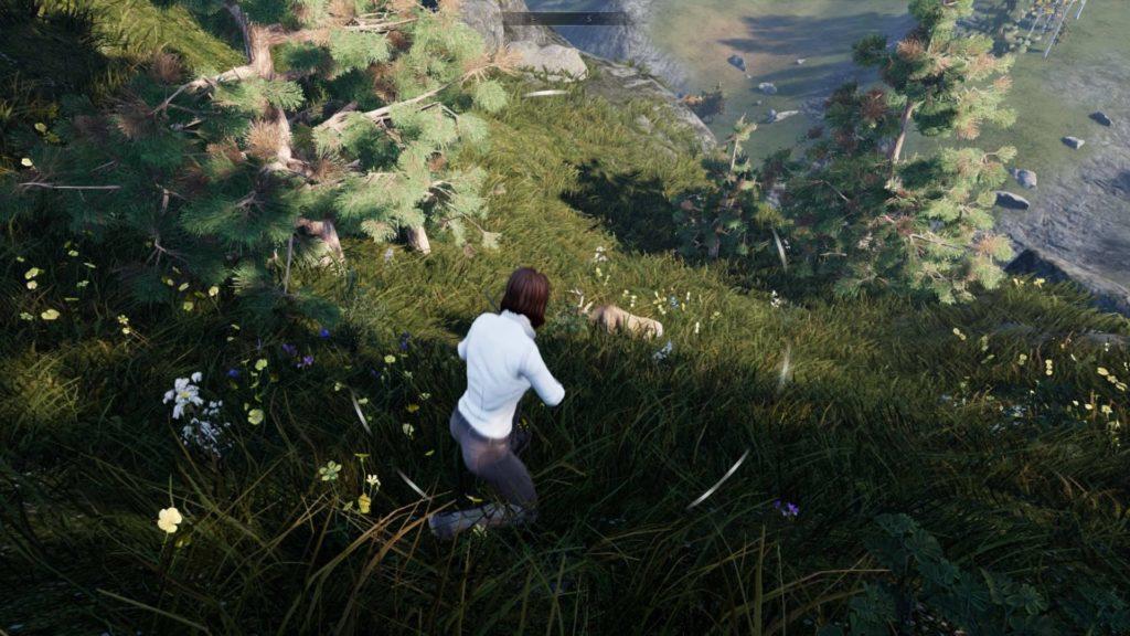 Auburn haired woman running down hill toward dead deer.