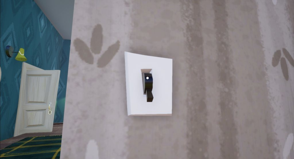 Close-up of white wall with a light switch turned off.