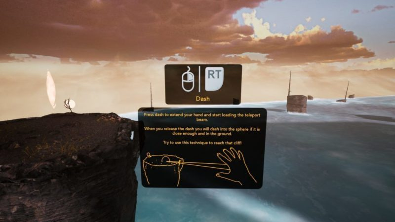 UI displaying instructions, clouds and water in background.
