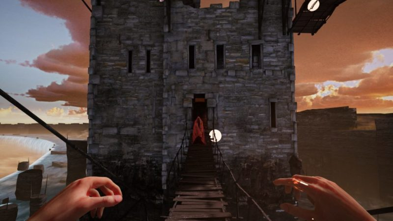 1st person view of hands with wooden bridge ahead, enemy and stone tower in the distance.