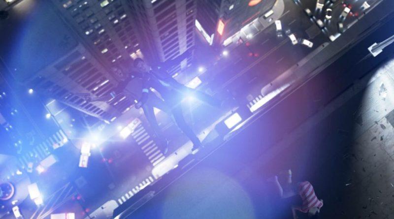 Man falling off tall building at night