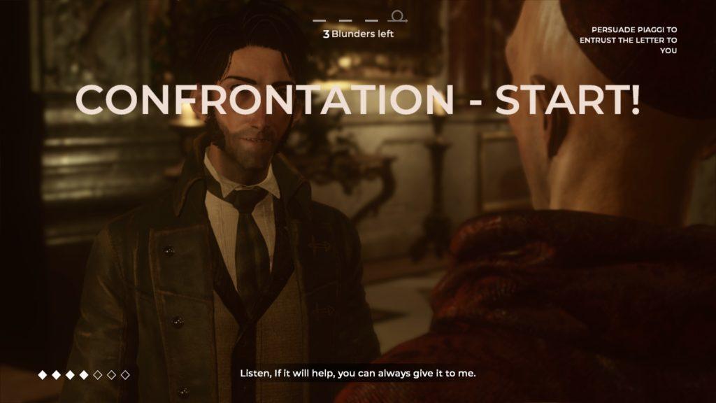 "Large text indicating ""Confrontation Start"" displayed."