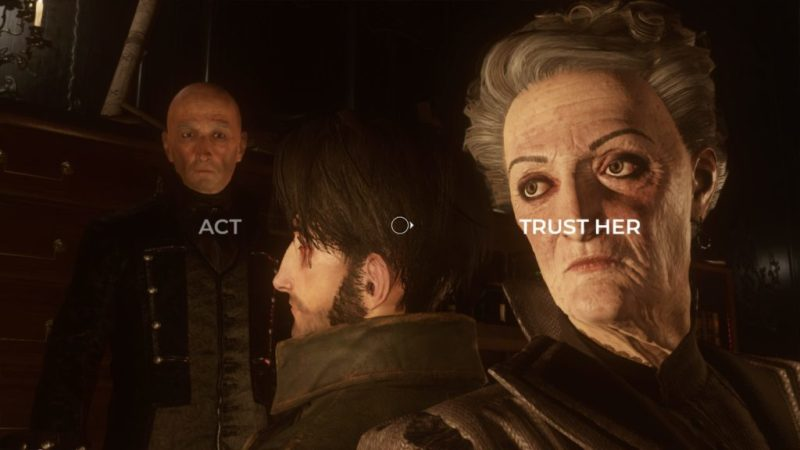 """Trust her"" highlighted as QTE choice. ""Trust her"" placed over the face of a woman."