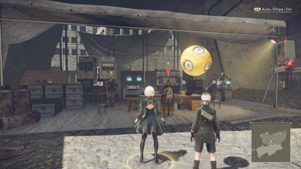 2B and 9S in safe zone near a quest giver.