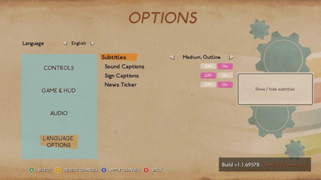 Language options screen