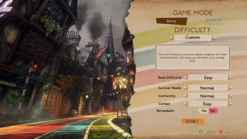 Difficulty options menu