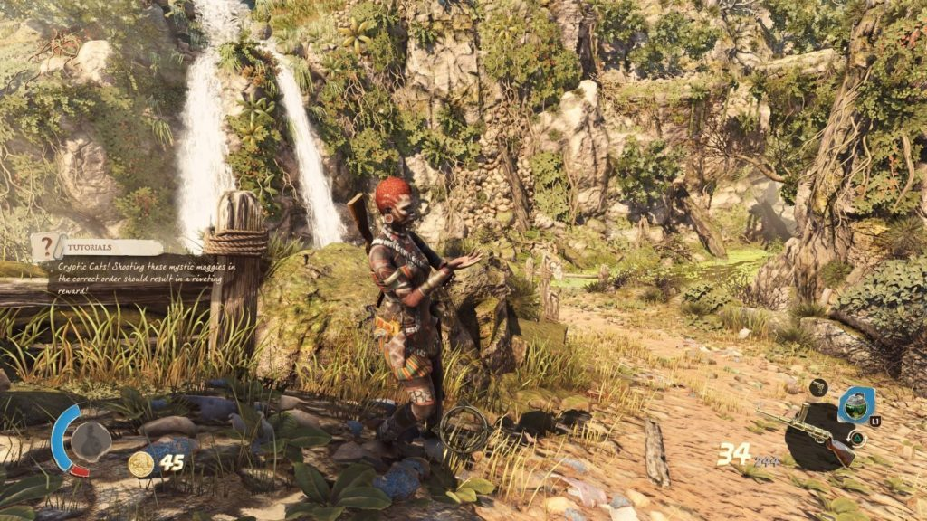 Player character standing on a path. Image illustrates lack of narrator subtitles.