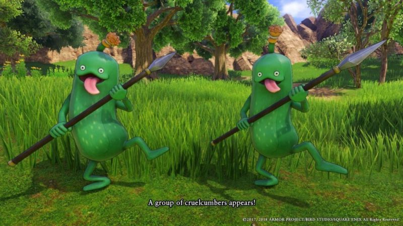 Two Cruelcumbers holding spears.