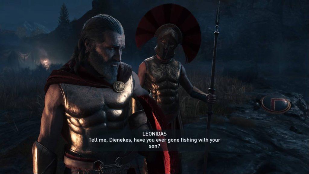 Leonidas and Spartan soldier talking.