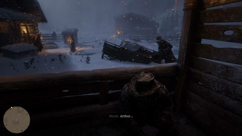 Gunfight at night in snow. Arthur in cover, Micah on the right, and Dutch in the distance.