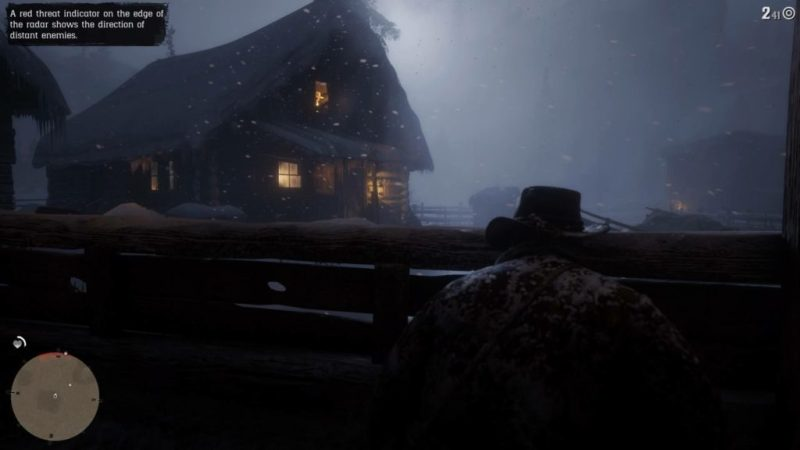 Gunfight with Arthur in cover. Snow covered cabin in background.