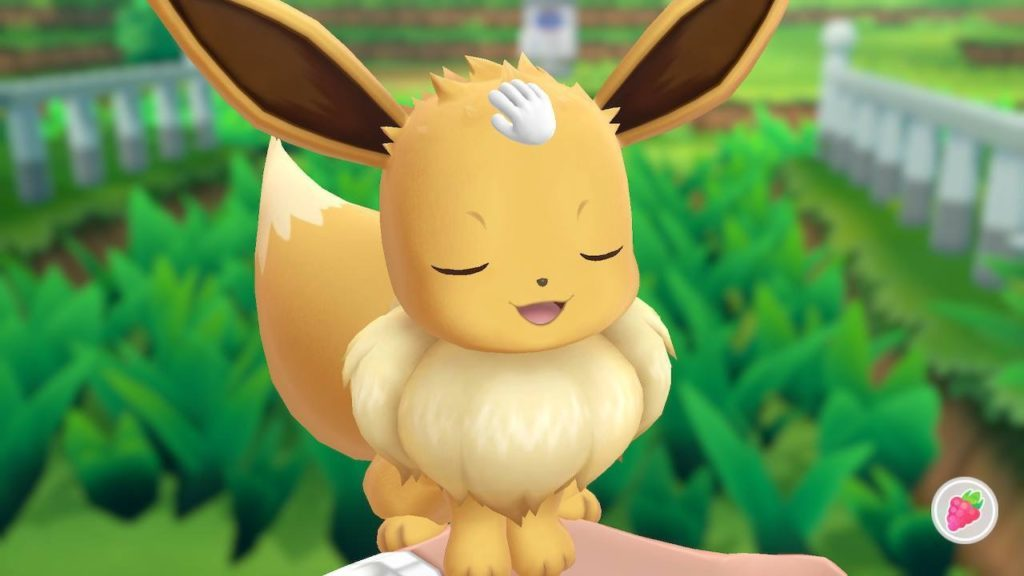 Pokemon petting mechanic screen with Evee.
