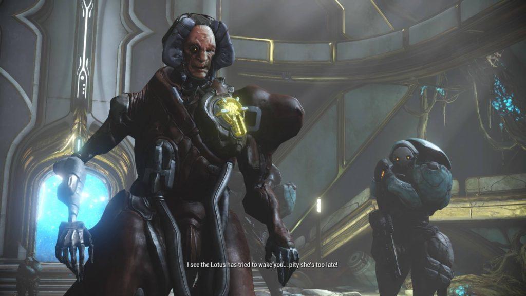 Captain Vor speaking during opening Warframe cutscene.